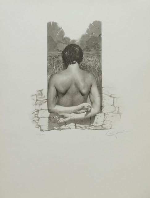 José Marí Llobet litografía surrealista retrato espalda
