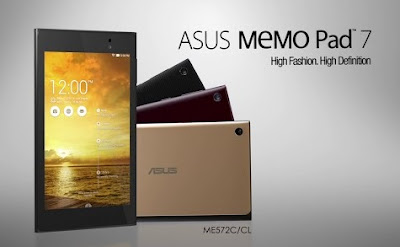 Asus Memo Pad 7 ME572C Specifications - LAUNCH Announced 2014, September  This is not a GSM device, it will not work on any GSM network worldwide. DISPLAY Type IPS LCD capacitive touchscreen, 16M colors Size 7.0 inches (~62.1% screen-to-body ratio) Resolution 1200 x 1920 pixels (~323 ppi pixel density) Multitouch Yes, up to 10 fingers BODY Dimensions 200 x 114.4 x 8.3 mm (7.87 x 4.50 x 0.33 in) Weight 269 g (9.49 oz) SIM No PLATFORM OS Android OS, v4.4.2 (KitKat) CPU Quad-core 1.83 GHz Chipset Intel Atom Z3560 GPU PowerVR G6430 MEMORY Card slot microSD, up to 64 GB (dedicated slot) Internal 16/32 GB, 2 GB RAM CAMERA Primary 5 MP Secondary 2 MP Features Geo-tagging Video Yes NETWORK Technology No cellular connectivity 2G bands  GPRS Yes EDGE Yes COMMS WLAN Wi-Fi 802.11 b/g/n, hotspot NFC Yes GPS Yes, with A-GPS, GLONASS USB microUSB v2.0, USB Host Radio No Bluetooth v4.0 FEATURES Sensors Accelerometer, gyro, compass Messaging Email, Push Mail, IM Browser HTML5 Java No SOUND Alert types Vibration; MP3, WAV ringtones Loudspeaker Yes, with stereo speakers 3.5mm jack Yes BATTERY  Non-removable Li-Po 15 Wh Stand-by  Talk time  Music play  MISC Colors Burgundy Red, Champagne Gold,Gentle Black  - MP3/WAV/WMA/AAC player - MP4/H.264 player - Document viewer - Photo viewer/editor - Voice memo