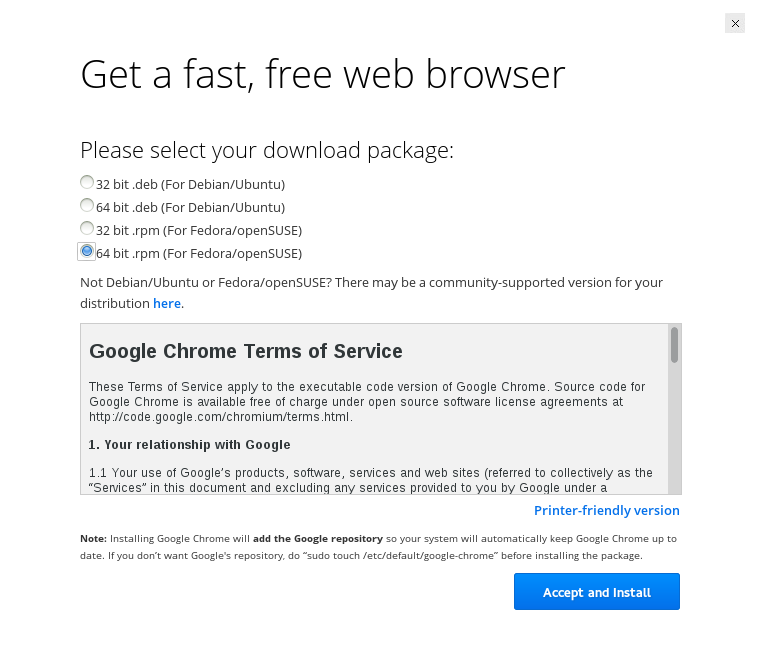 TechnoZeal: Install Google Chrome on Fedora 18, 19, 20