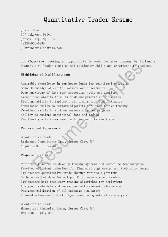 equity trader resume equity trader cv sample free resume role of