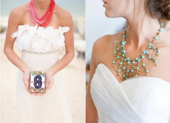 Bigiotteria per la sposa, statement necklace, collana per la sposa, gioielli per la sposa colorati