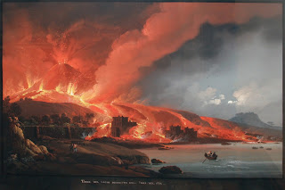 Camillo de Vito's painting shows Torre del Greco  engulfed by fire after the 1794 eruption