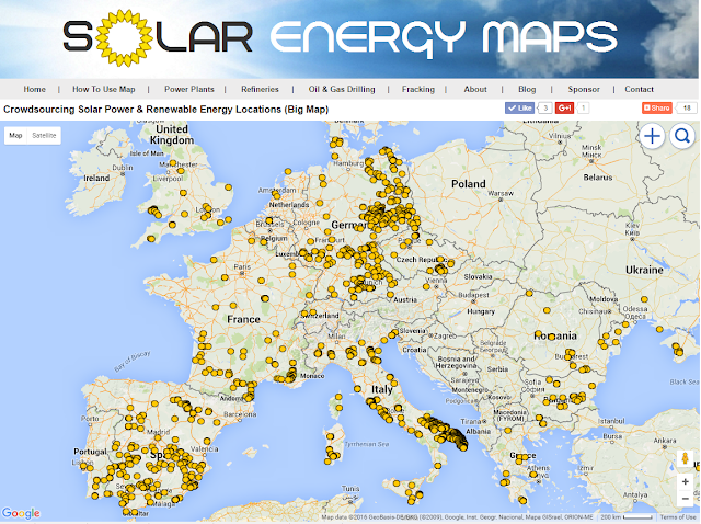 Map of solar energy in Spain, France, UK, Italy, Greece, Germany, Austria, Netherlands, Romania & Turkey.