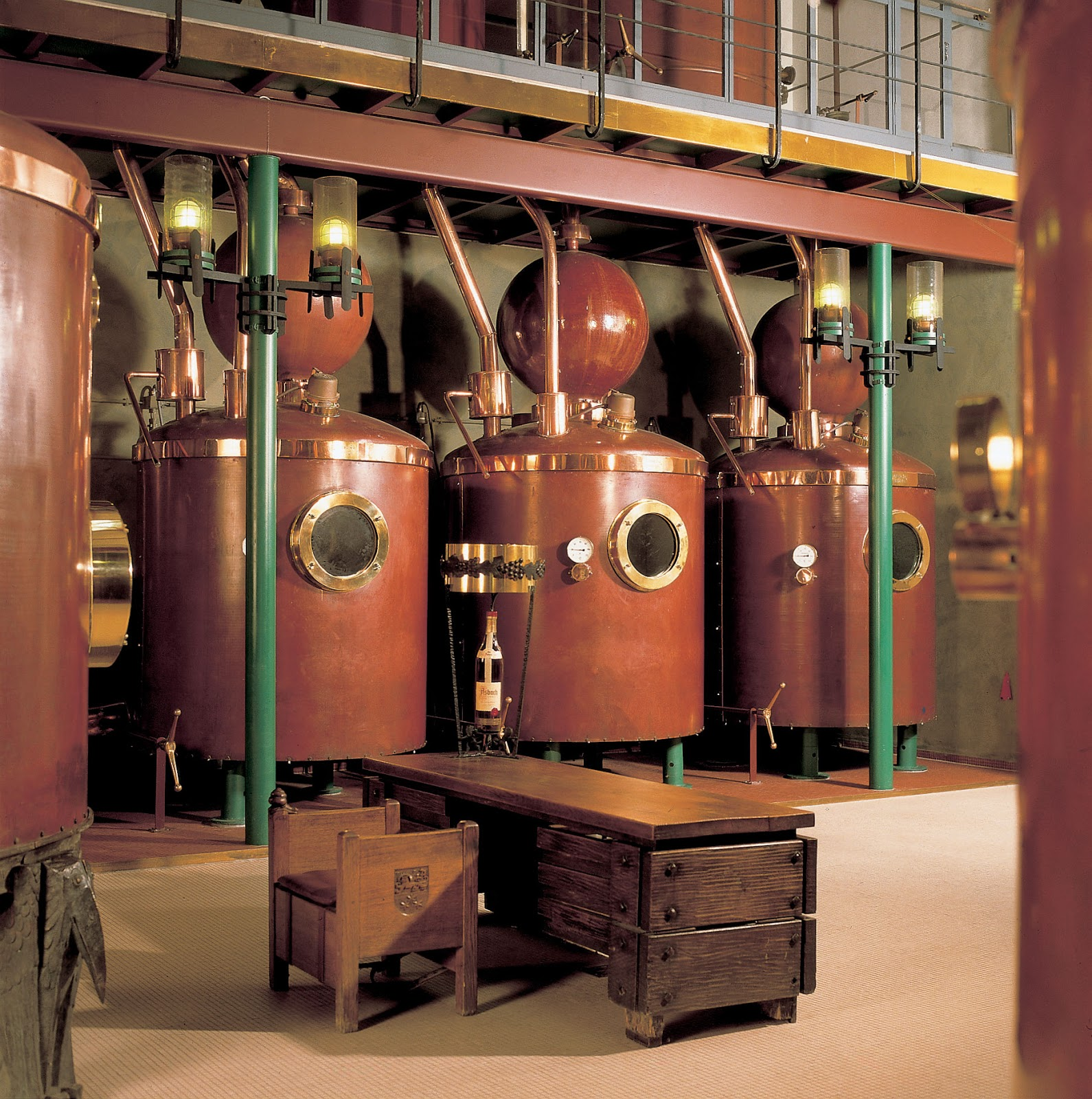 The original copper Asbach distilling vats. Photo: © Asbach.de. Unauthorized use is prohibited.