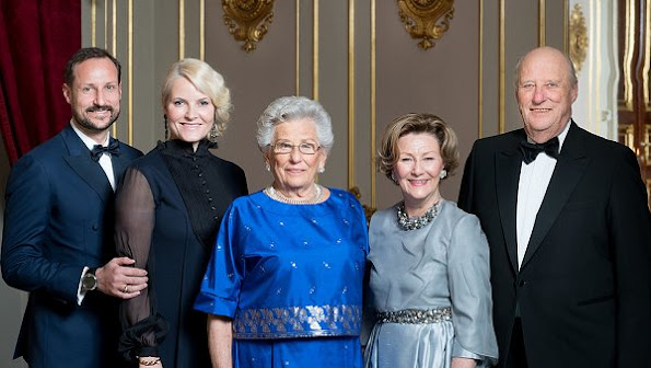 Crown Prince Haakon, Crown Princess Mette-Marit, Queen Sonja attend a dinner for Princess Astrid 85th birthday at Royal Palace.