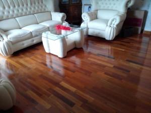 Pemasangan Flooring kayu Merbau di Jakarta Selatan.