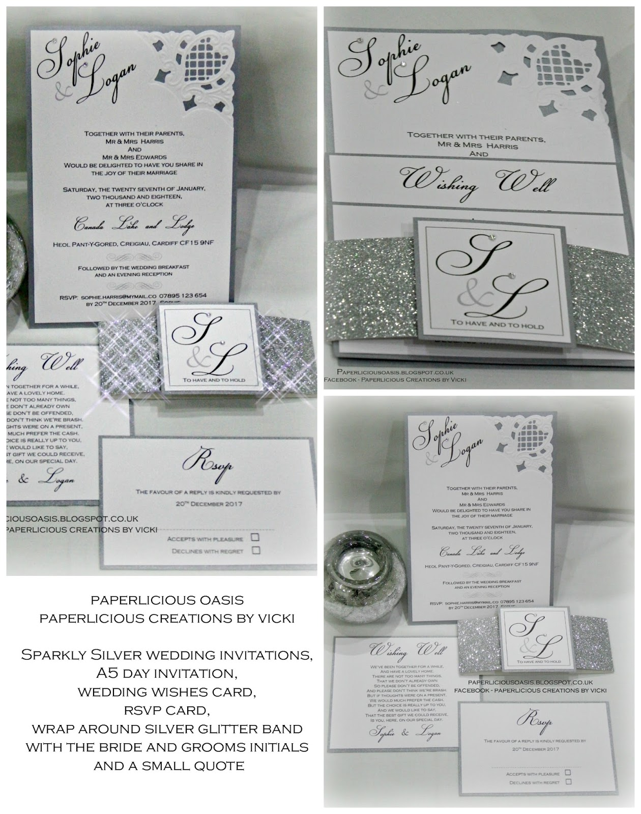 Paperlicious Oasis: Silver and grey wedding invitations with belly band.