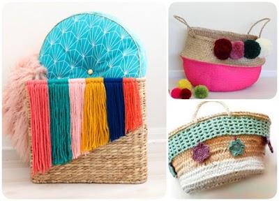 Cómo adornar cestos con lanas flotantes ó pompones