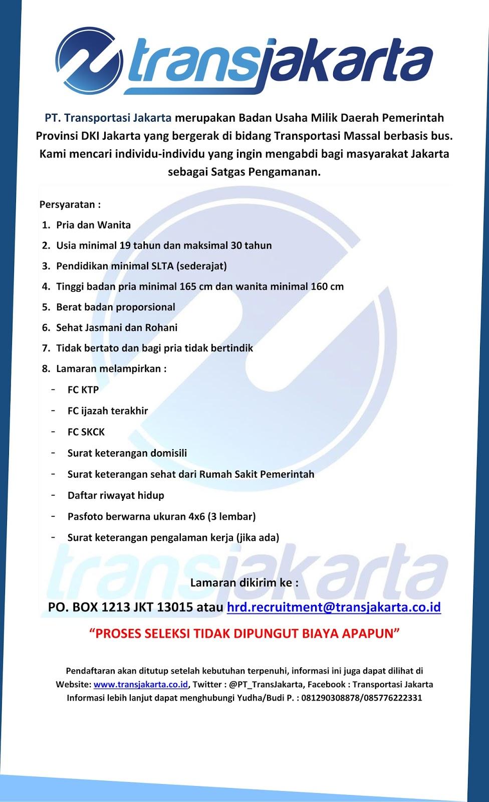 Lowongan Kerja Transjakarta Tahun 2016