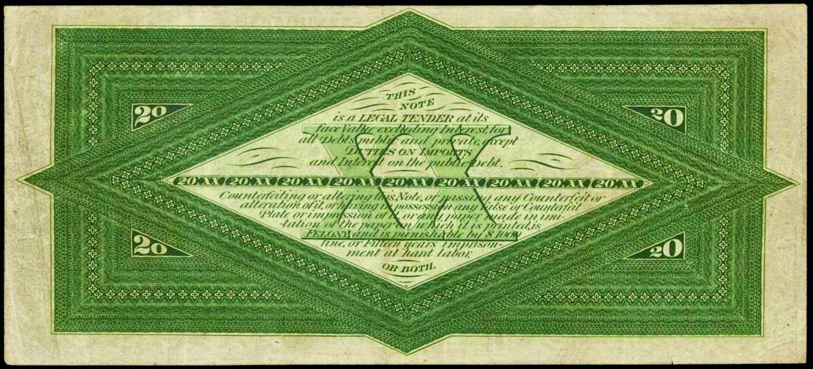 United States paper money 1863 Twenty Dollar Interest Bearing Note