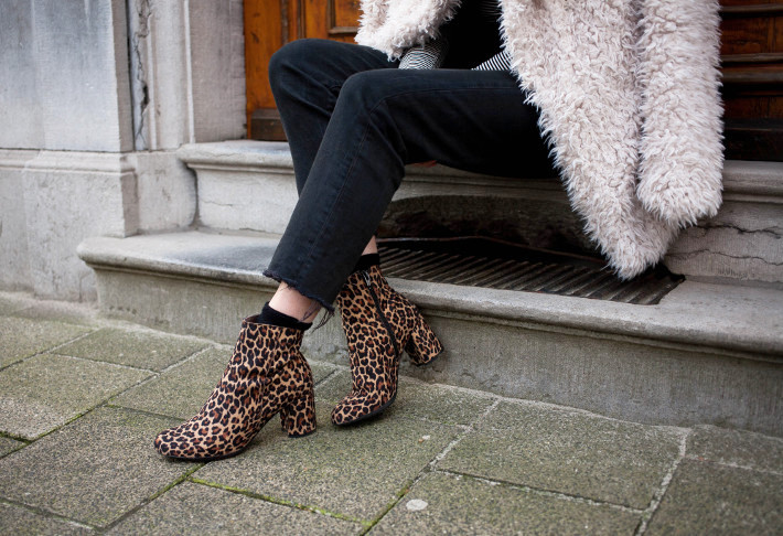Outfit: channeling Woodstock in shaggy faux fur and leopard boots