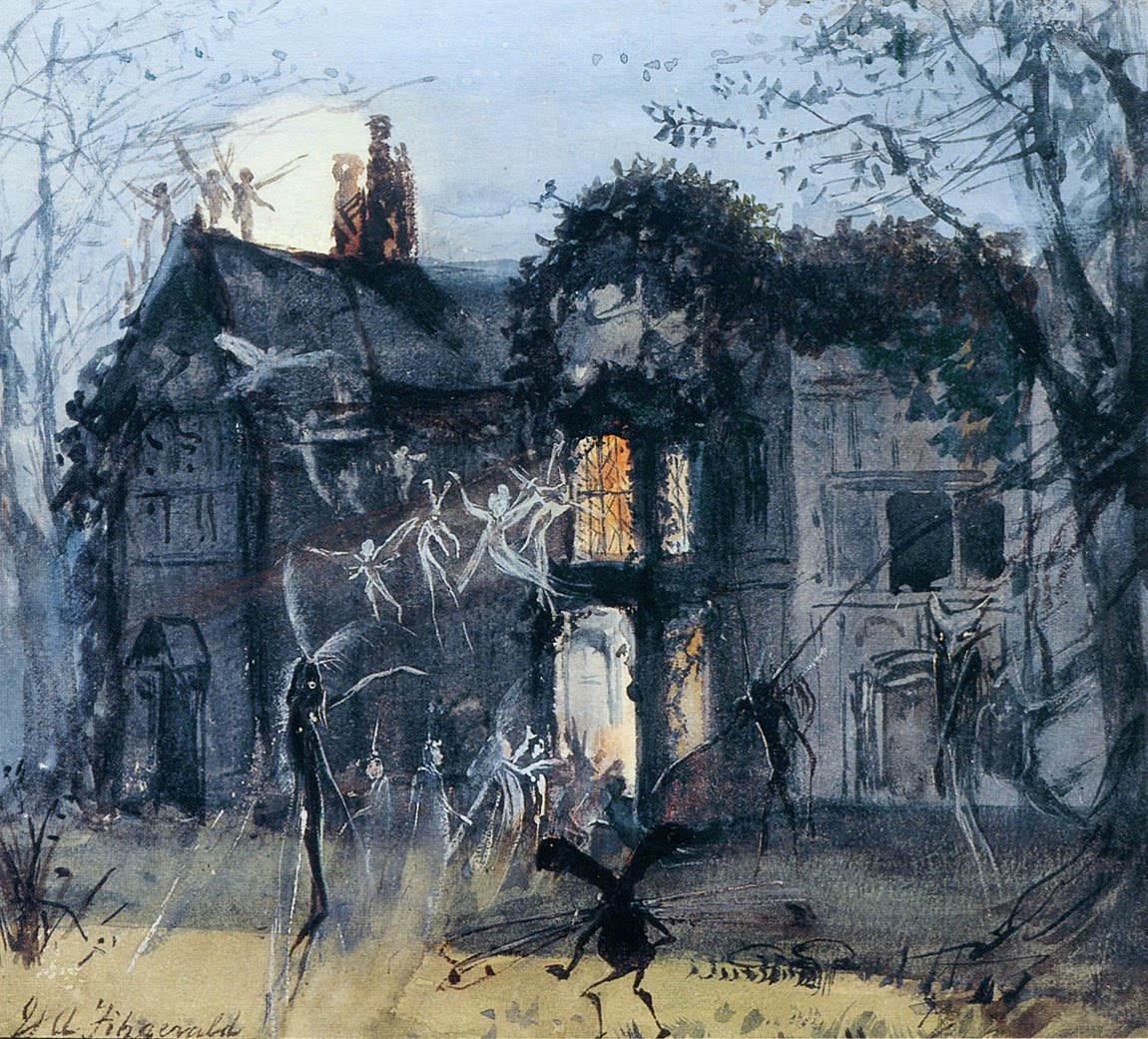 John Anster Fitzgerald, The Old Hall, Fairies By Moonlight