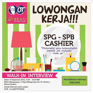 Info Lowongan Kerja SPG SPB Cashier OT Beau Bekasi laki laki perempuan ijazah sma smk bekasi jakarta jabodetabek