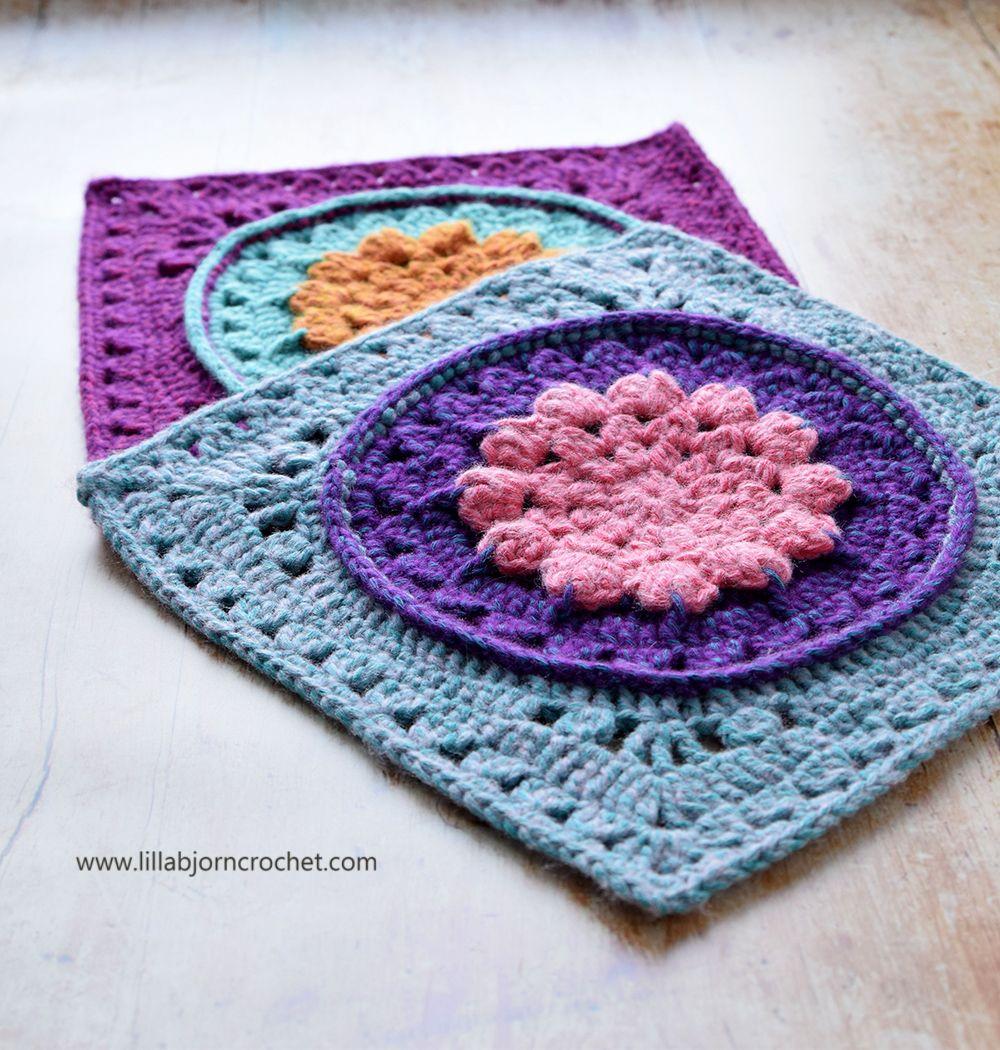 """Water Lilly 12"""" Afghan Square - FREE crochet pattern - www.lillabjorncrochet.com"""