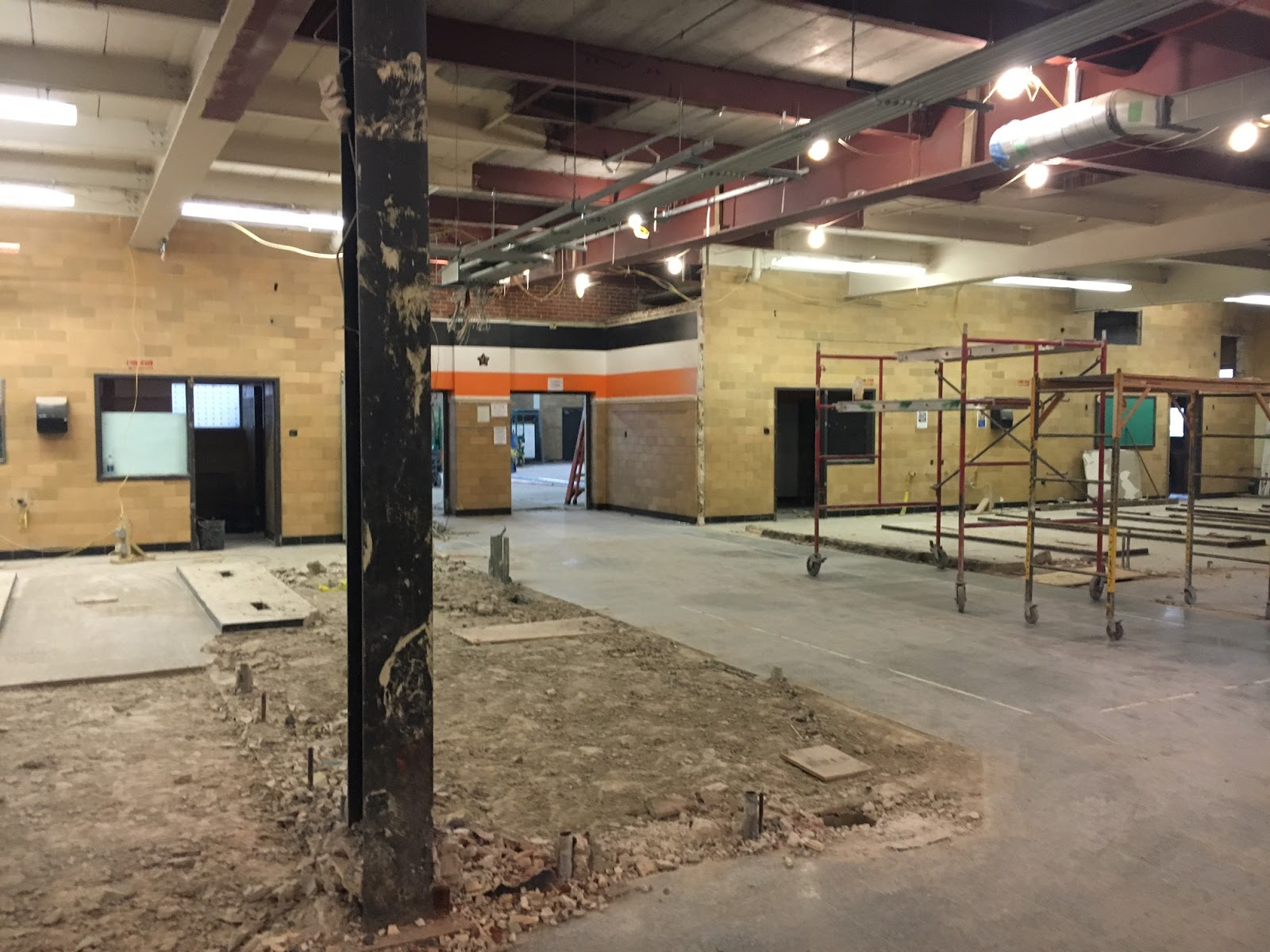 View Of The Entrance Hallway To Gym A Exterior Walls Both Locker Rooms Have Been Removed