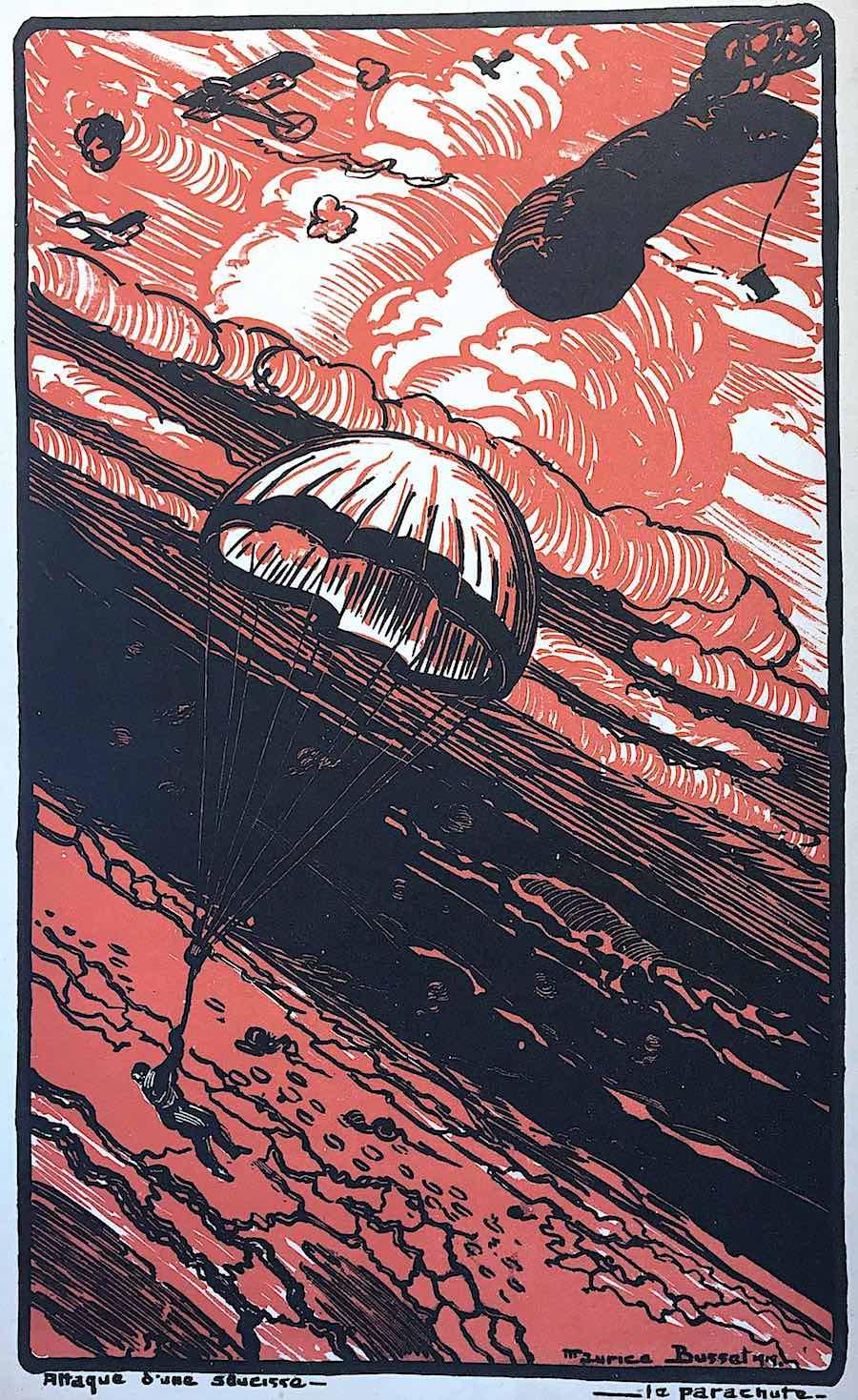a Maurice Busset color illustration of parachutists