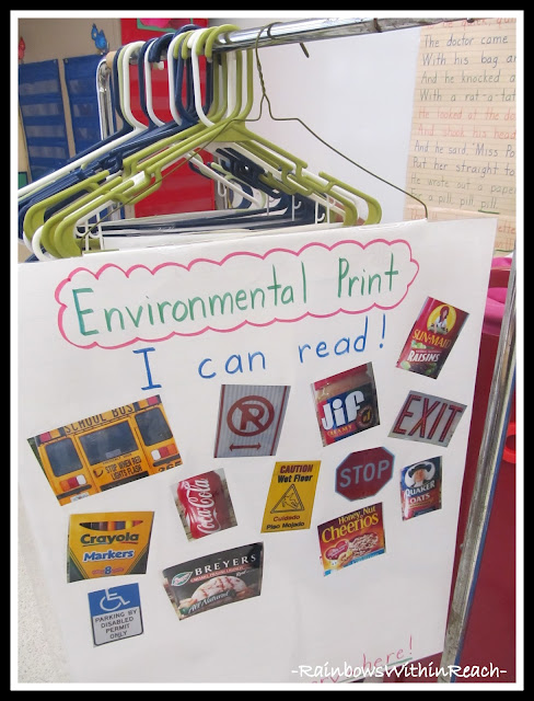 Photo of anchor charts hanging on hangers in kindergarten environmental print via rainbowswithinreach also rainbowswithinreachspot rh