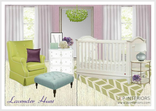 Lilac and green nursery room design