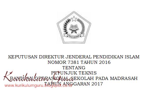 Download Petunjuk Teknis Bantuan Operasional Sekolah Pada Madrasah Tahun 2017