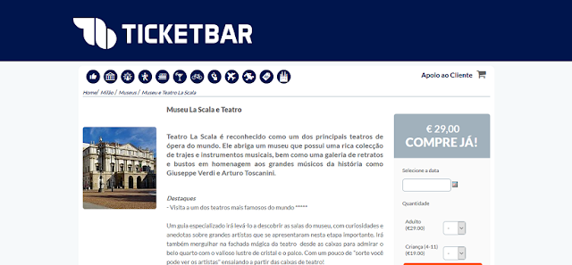 Ticketbar para ingressos para a visita ao Museu La Scala e Teatro em Milão