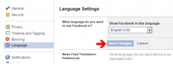 where is the language tab on facebook