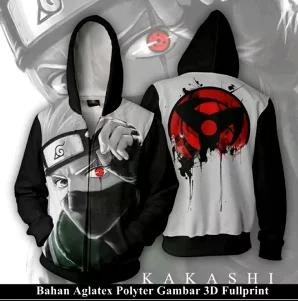 Jaket Hoodie Zipper Anime Naruto Style Kakashi Full Print Best Seller (JK004)