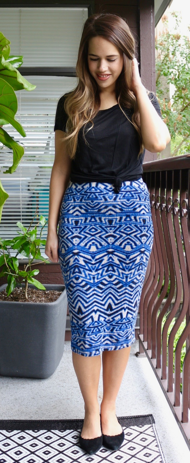 Jules in Flats - Tribal Print Midi Skirt and Tie-Front Tee