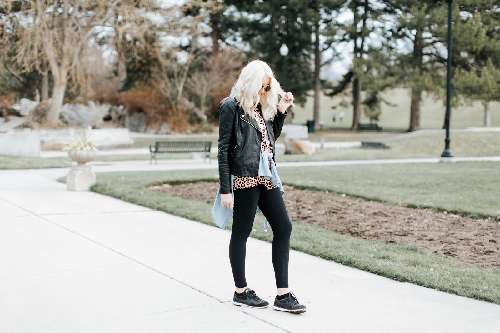 Black Leggings, Black Leather Jacket, Utah Fashion blogger