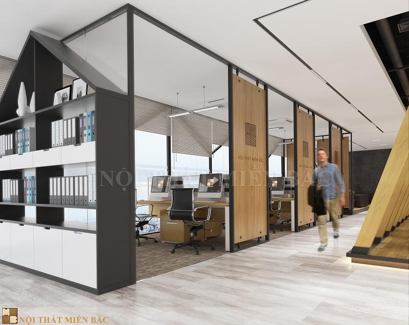 Thiết kế nội thất phòng làm việc kết cấu mở