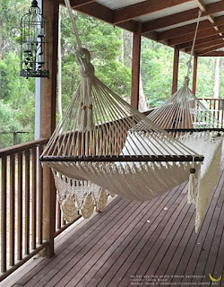 bohemian cotton hammock out on a porch