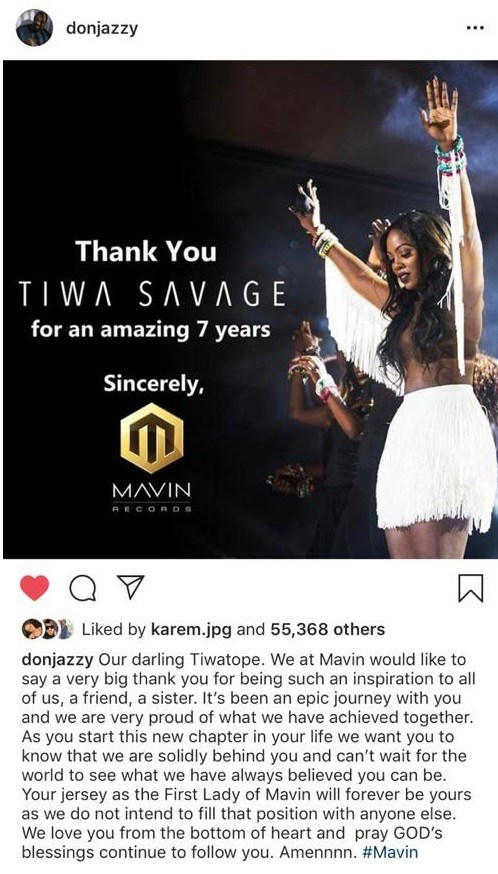 CELEBRITY GIST: Tiwa Savage Finally leaves Mavin Records, Don Jazzy writes moving Tribute to Her.. She Responds!