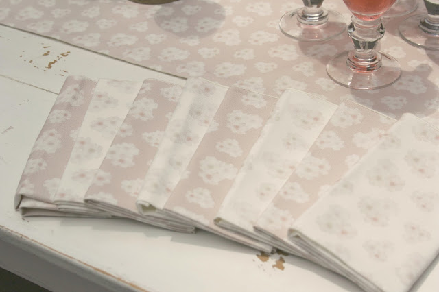 Polka dot peonies blush pink napkins and table runner from Minted - Hello Lovely Studio