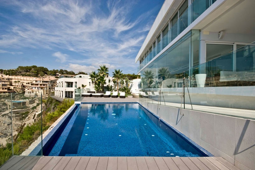 Swimming pool of modern Mallorcan villa
