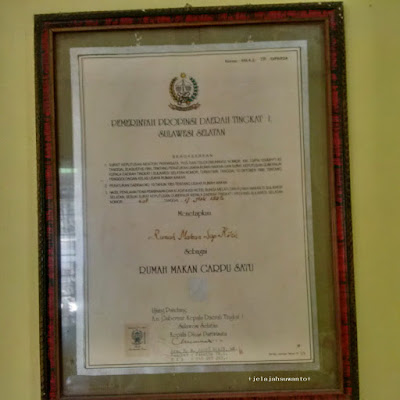 Piagam Penghargaan Sop Kikil Andi Rahim Pangkep, Sulsel+jelajahsuwanto