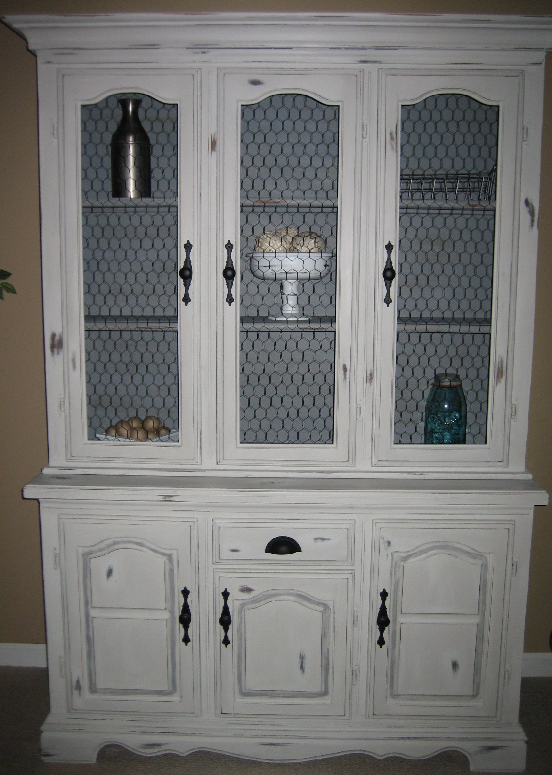 Painted Distressed China Cabinet