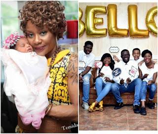 Funke Akindele's Husband, JJC's First Baby Mama & Husband Welcome Baby In U.K (Photos)