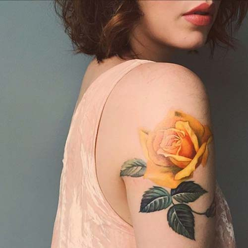 arm yellow rose tattoo kol sarı gül dövmesi
