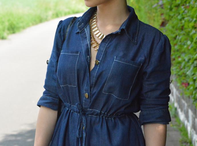 Denim Shirt Dress, Shirt Dress Outfit, Vintage Women Long Sleeve Elastic Waist Shirt Demin Dress, Oasap, Paisley Bandana Scarf, Pom Pom Keychain, Lace Up Flats