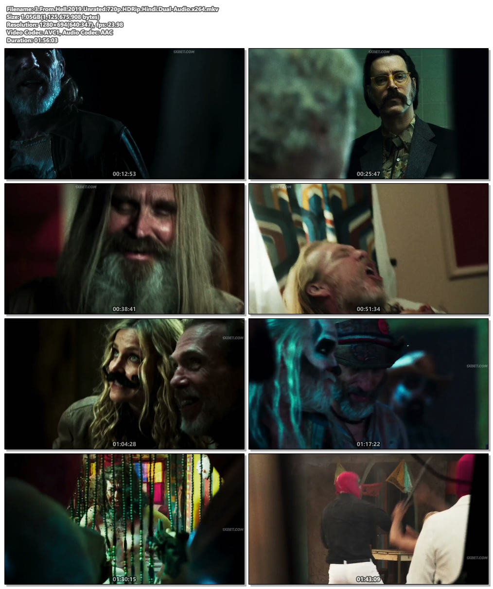 3 From Hell 2019 Unrated 720p HDRip Hindi Dual Audio x264 | 480p 300MB | 100MB HEVC Screenshot