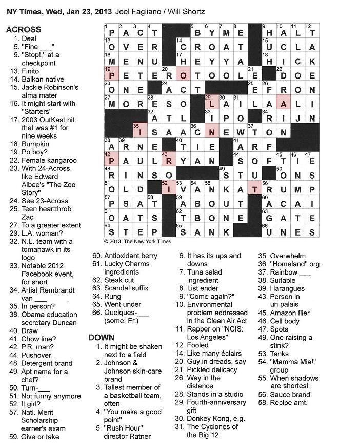 The New York Times Crossword in Gothic: 01.23.13 — Initially