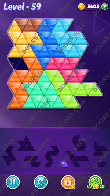 Block! Triangle Puzzle 9 Mania Level 59 Solution, Cheats, Walkthrough for Android, iPhone, iPad and iPod