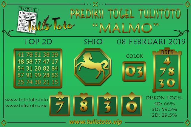 Prediksi Togel MALMO TULISTOTO 08 FEBRUARI 2019