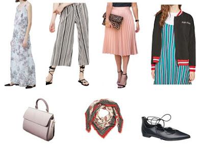 Tendências luxo vs low-cost: vestido comprido floral, culottes riscas, saia plissada rosa, blusão bomber, mala de mão rígida rosa, lenço e sabrinas pretas lace up de lojas reais low-cost
