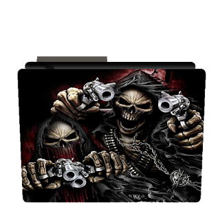 Preview of horror skull, gun, shot, cool icon, creative.