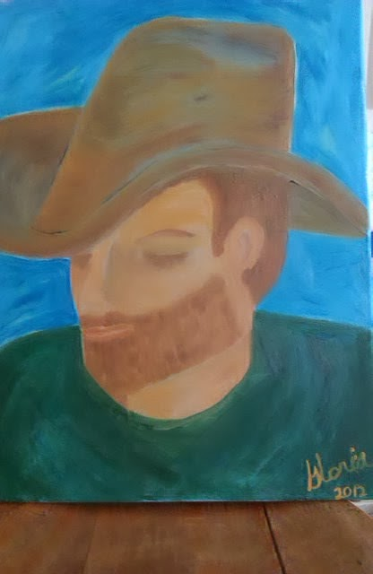 """Sleeping in a stetson"" oil painting , ethnic series by Gloria Poole of Missouri ; 2013"