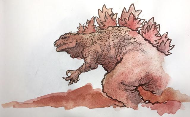 Il s'agit d'un dessin assez rapide représentant de profil Godzilla. Le trait est à l'encre de Chine et la couleur a été réalisée à l'aquarelle dans le tons rouges. Il s'agit d'un petit hommage de Nick Mothra au King of Monsters