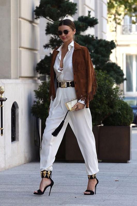 how to wear jumpsuit trend street style Miranda Kerr