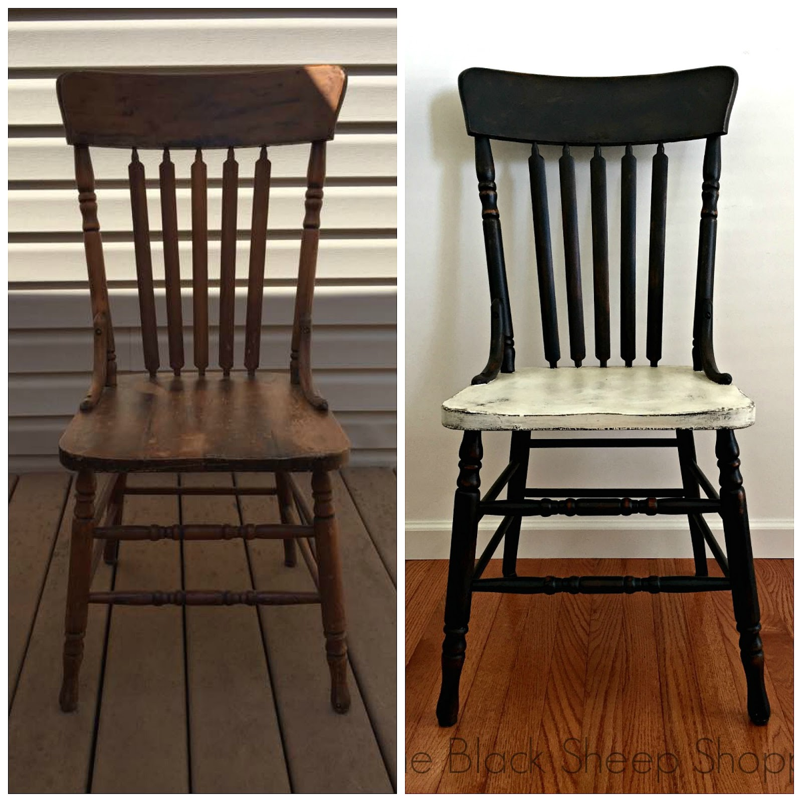 Before and after painted wood chair