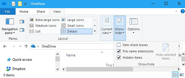 unhide file extension