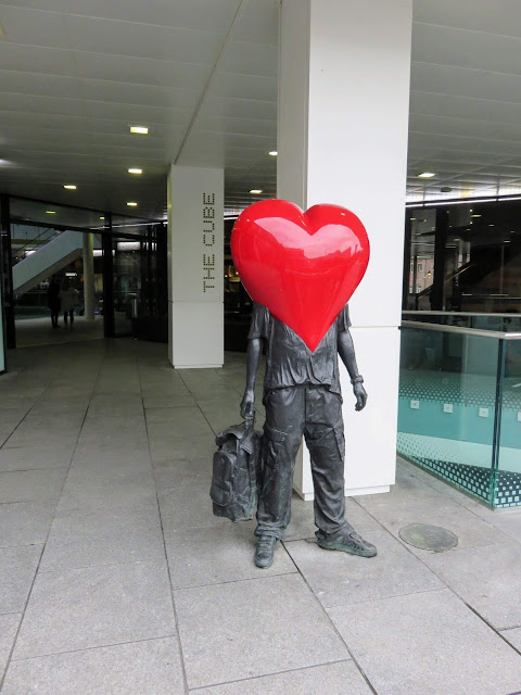 Heart-headed statue at the Cube in Birmingham, UK
